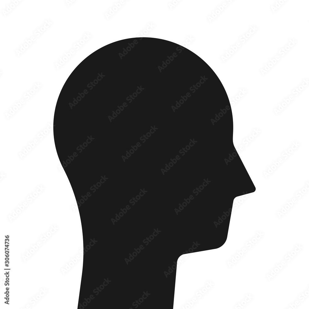 Fototapeta Simple black head silhouette