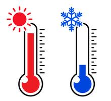 温度計のアイコン 暑い 寒い
