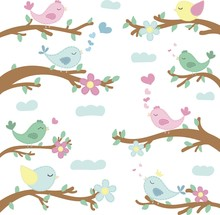 Vector Pattern, Cute Colored Birds On Branches, Illustration For Children, No Background