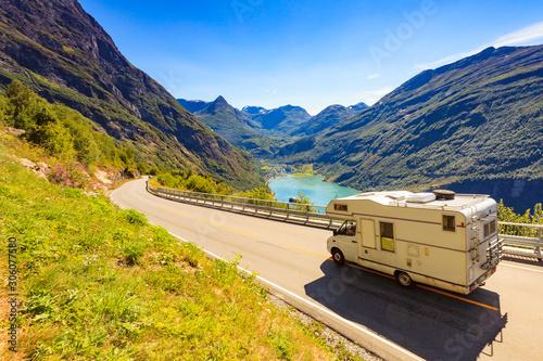 Obraz na płótnie Geiranger fjord and camper on road, Norway.