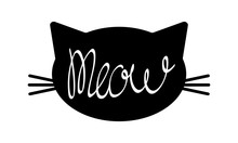 Black Cat Face Silhouette With Meow Lettering Inside. Simple Object On White Background. Flat Vector Illustration.