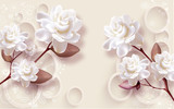 3d illustration, beige background with rings, large white roses
