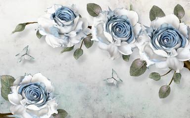 Fototapeta Do salonu 3d illustration, light grunge background, large blue and white roses