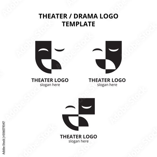 Fotografie, Obraz set of theater mask actor logo template vector icon element