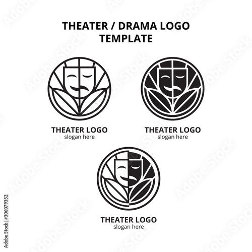 Fototapeta  set of theater mask actor with leaf in circle logo template vector icon element