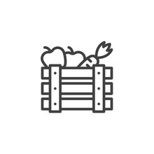 Fruits Crate Box Line Icon. Linear Style Sign For Mobile Concept And Web Design. Wooden Box With Carrots And Apples Outline Vector Icon. Harvest Symbol, Logo Illustration. Vector Graphics