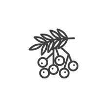 Rowan Berries Line Icon. Forest Berry Linear Style Sign For Mobile Concept And Web Design. Rowan Branch Outline Vector Icon. Thanksgiving Symbol, Logo Illustration. Vector Graphics
