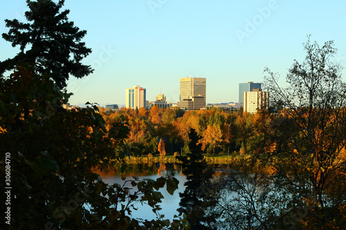 Anchorage, Alaska / USA - September 29 2018: downtown Anchorage, Alaska seen across Westchester Lagoon in the late afternoon Canvas Print
