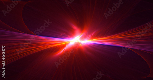 Photo  3D rendering abstract red fractal light background