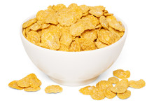 Crunchy Corn Flakes Breakfast Cereals In White Bowl
