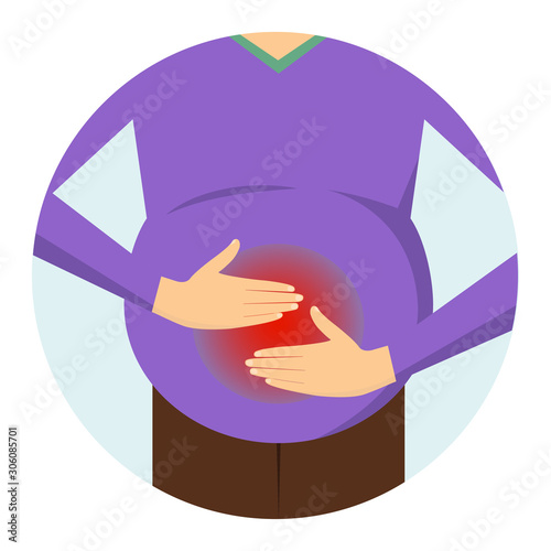 Photo  Abdominal bloating. Stomach pain. Man holds his hands on the body