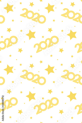2020 golden christmas background and stars vertical seamless pattern transparent - 306085712