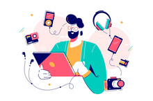Male Character Surrounded With Gadgets Flat Design Concept