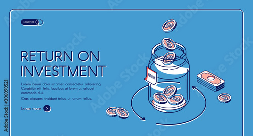 Fototapeta Return on investment isometric landing page, dollar coins fall to glass jar with loop arrow and bills around, invest fund increase money finance business 3d vector illustration, line art web banner obraz