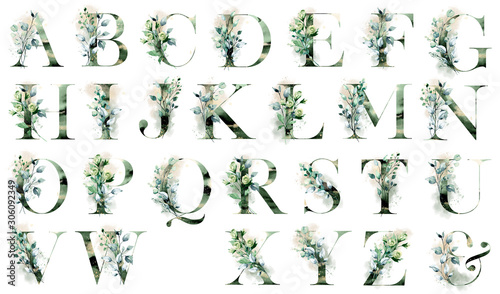 Photo Floral alphabet, letters set with watercolor leaf