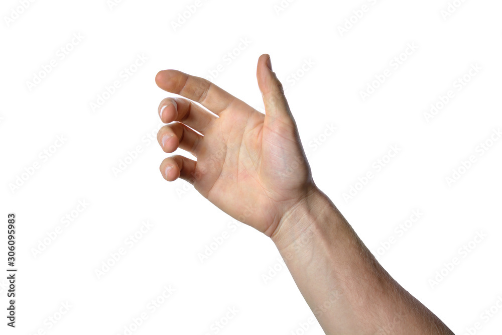 Fototapeta gesture of the hand for holding smartphone or bottle