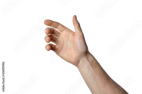 Obraz gesture of the hand for holding smartphone or bottle - fototapety do salonu
