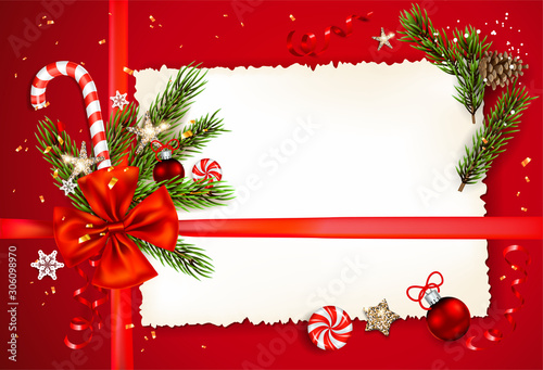 Fotobehang - Decorations on red holiday background