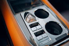 Luxury Car Armrest With Cup Holder And Modern Gearbox Panel