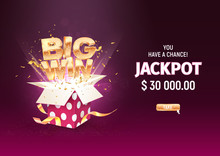 Big Win Gold Sign Take Off From Open Purple Gift Box On Dark Background. Gambling Vector Banner. Jackpot Illustration Template
