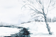 The Stream Flows Through Grass And Bare Trees. Winter Watercolor Illustration