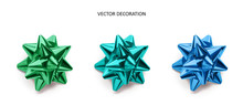 Set Of Bows Green And Blue Color Metallic With Shadow On Isolated White Background. Realistic Vector Decoration For Holiday.
