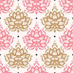 Ethnic Oriental Mehndi Lotus Flower Seamless Pattern. Floral Ornamental Patte...