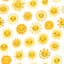 Vector Seamless Pattern With Cute Smiling Sun Kawaii Icons. Sky Background For Kids Fashion, Nursery, Baby Shower Scandinavian Design