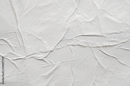Fotobehang Vrouw gezicht Blank white crumpled and creased paper poster texture background