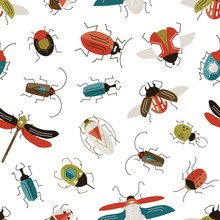 Bugs And Beetles Vector Seamless Pattern. Entomology And Insects Colorful Backdrop. Dragonfly, Ladybugs, Ladybirds And Stag-beetle On White Background. Wildlife Nature Textile Design.