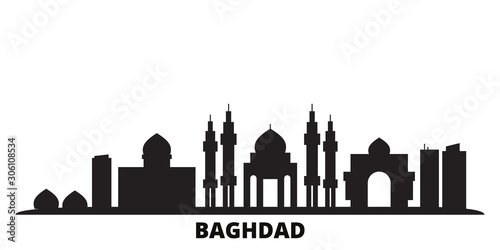 Iraq, Baghdad city skyline isolated vector illustration Fototapet