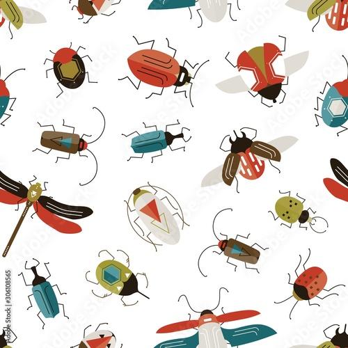 Bugs and beetles vector seamless pattern Fototapet