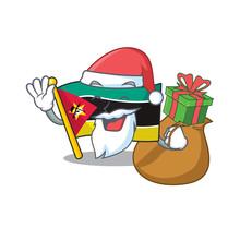Santa With Gift Flag Mozambiqu...