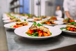 canvas print picture - Cooking a delicious main course in the restaurant kitchen. Catering on holiday.