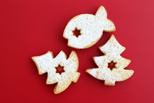 Homemade Linzer Cookies Filled With Red Jam And Dusted With Powdered Sugar