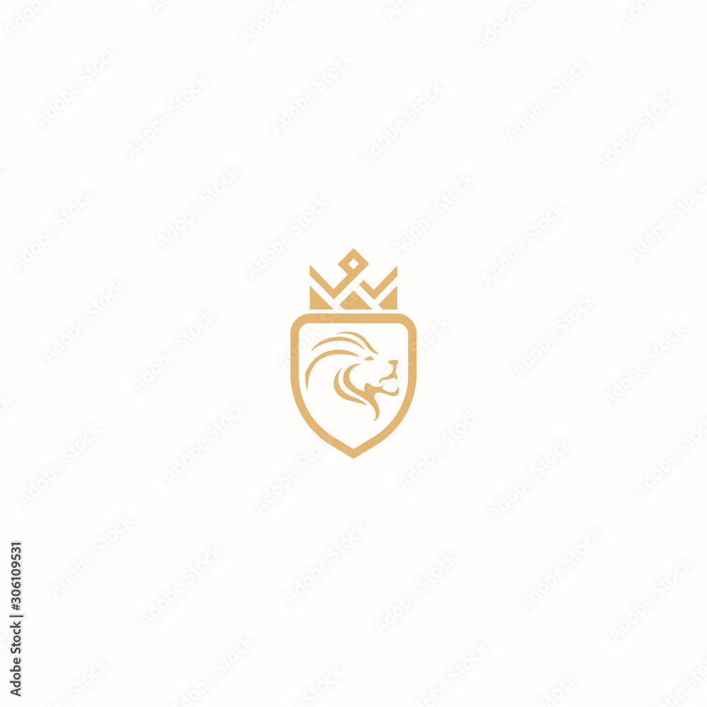 Fototapeta lion head/lion shield/ king logo design for use any purpose