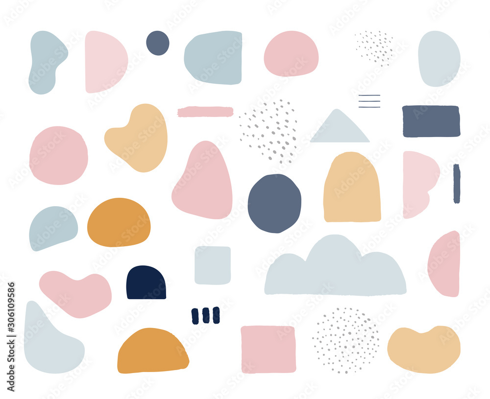Fototapeta Modern trendy abstract shapes in pastel colors. Scandinavian clean vector design