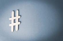 Hashtag On Metallic Gray Backg...