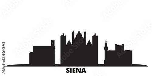 Italy, Siena city skyline isolated vector illustration. Italy, Siena travel cityscape with landmarks