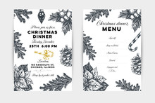 Christmas Dinner Hand Drawn Vector Invitation And Menu Template