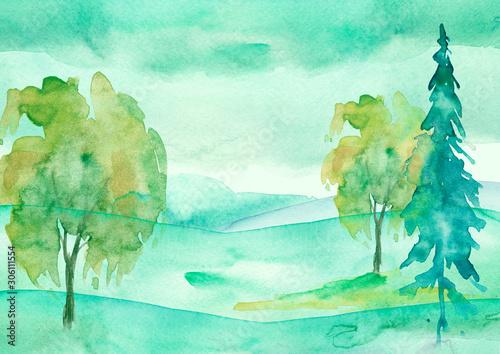 In de dag Groene koraal Watercolor painting, picture, landscape - green forest, nature, tree. It can be used as logo, card, illustration. Fir, cedar, pine, oak, watercolor birch. Green hill in the haze.