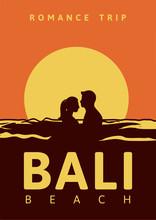 Romance Trip Bali Beach Poster Design Illustration Vintage Retro Style