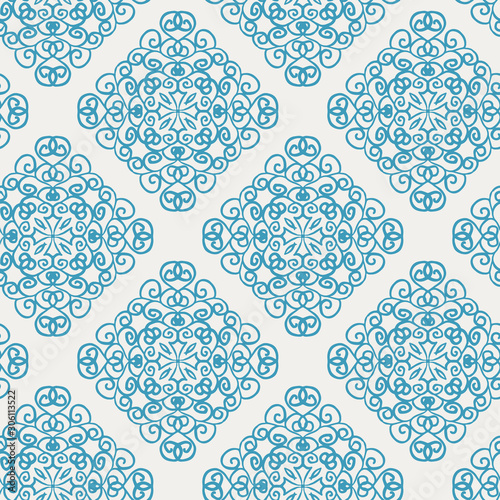 Blue damask ornate seamless pattern from flourishing curves. Victorian rich filigree curled swirl clipart. Vector repeat design for background or surface design.