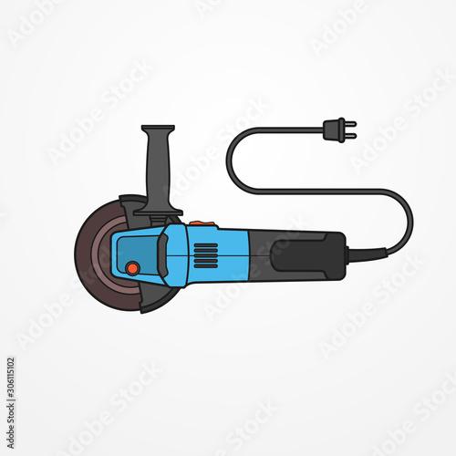 Obraz na plátně Electric angle grinder flat style vector image
