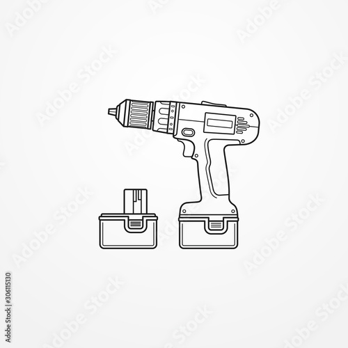 Obraz Electric cordless drill with battery outline vector image - fototapety do salonu