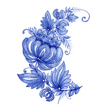 Watercolor Hand Painted Floral Ornament In Ukrainian Style. Best For Greeting Card, Textile, Fabric, Ceramics, Print, Scapbooking, Stickers