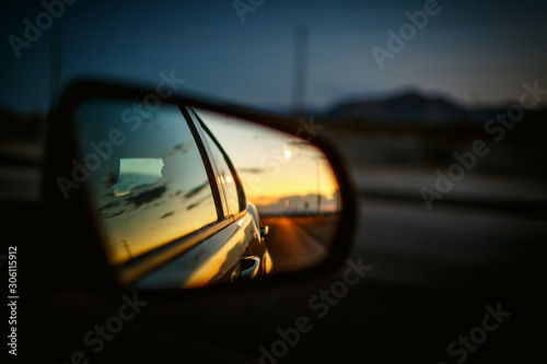 objects in the rear view mirror may appear closer than they are Canvas Print