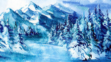 Mountains Watercolor Painting,...