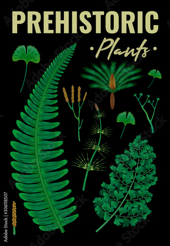 Prehistoric Plants Vertical Background Fototapet