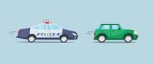 Police Patrol Car With Flashin...